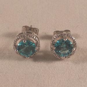 Blue Topaz Zircon Halo Stud Earrings 1.28tcw